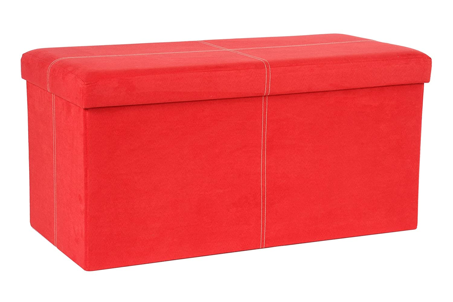 The FHE Group Folding Storage Bench, 30 by 15 by 15-Inch, Red Suede