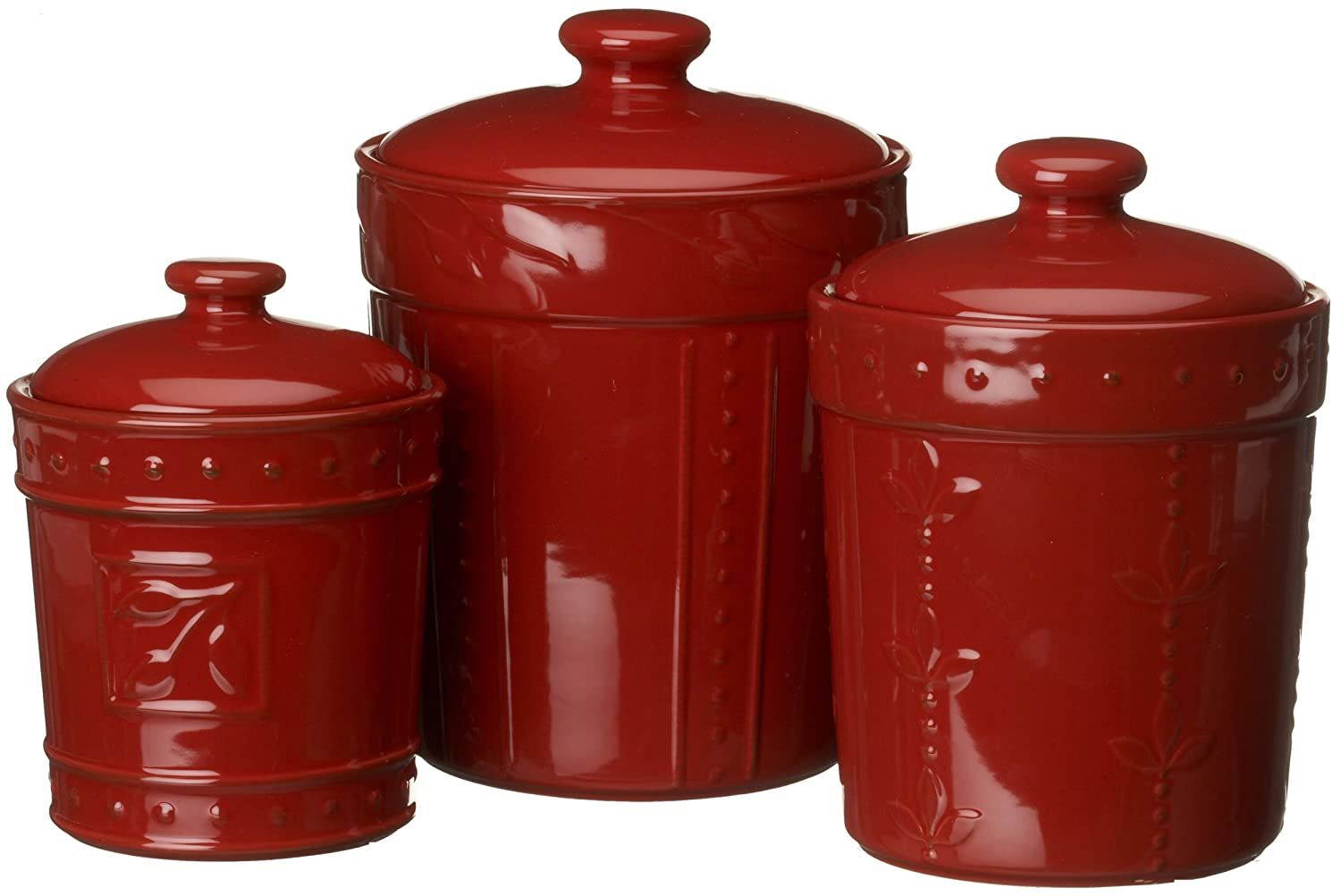 red canisters set storage kitchen containers lids storage signature housewares 3 piece sorrento ruby red ceramic
