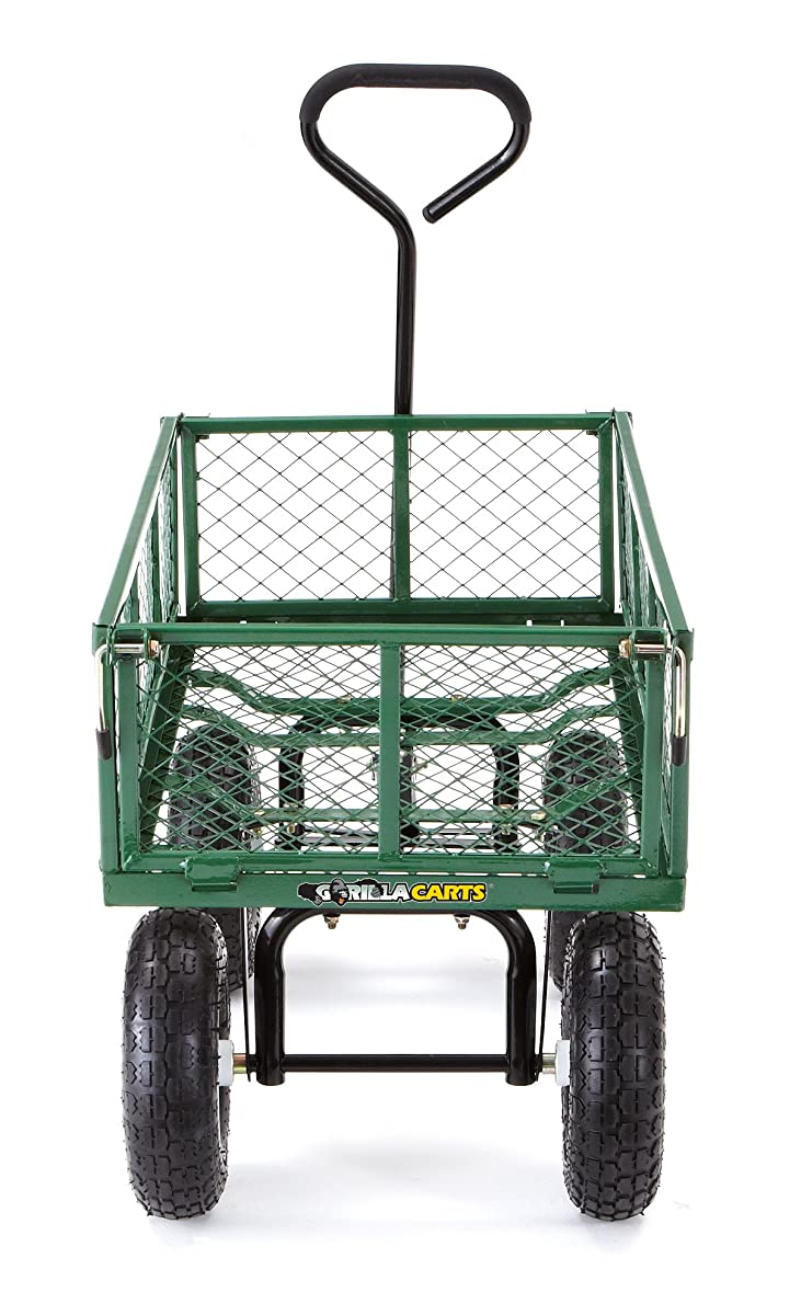 Gorilla Carts Steel Garden Cart with Removable Sides with a Capacity of 400 lb, Green