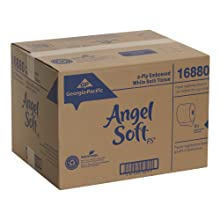 "Georgia-Pacific Angel Soft ps 16880 White 2-Ply Premium Embossed Bathroom Tissue, 4.05"" Length x 4.5"" Width (Case of 80 Rolls, 450 Sheets Per Roll)"
