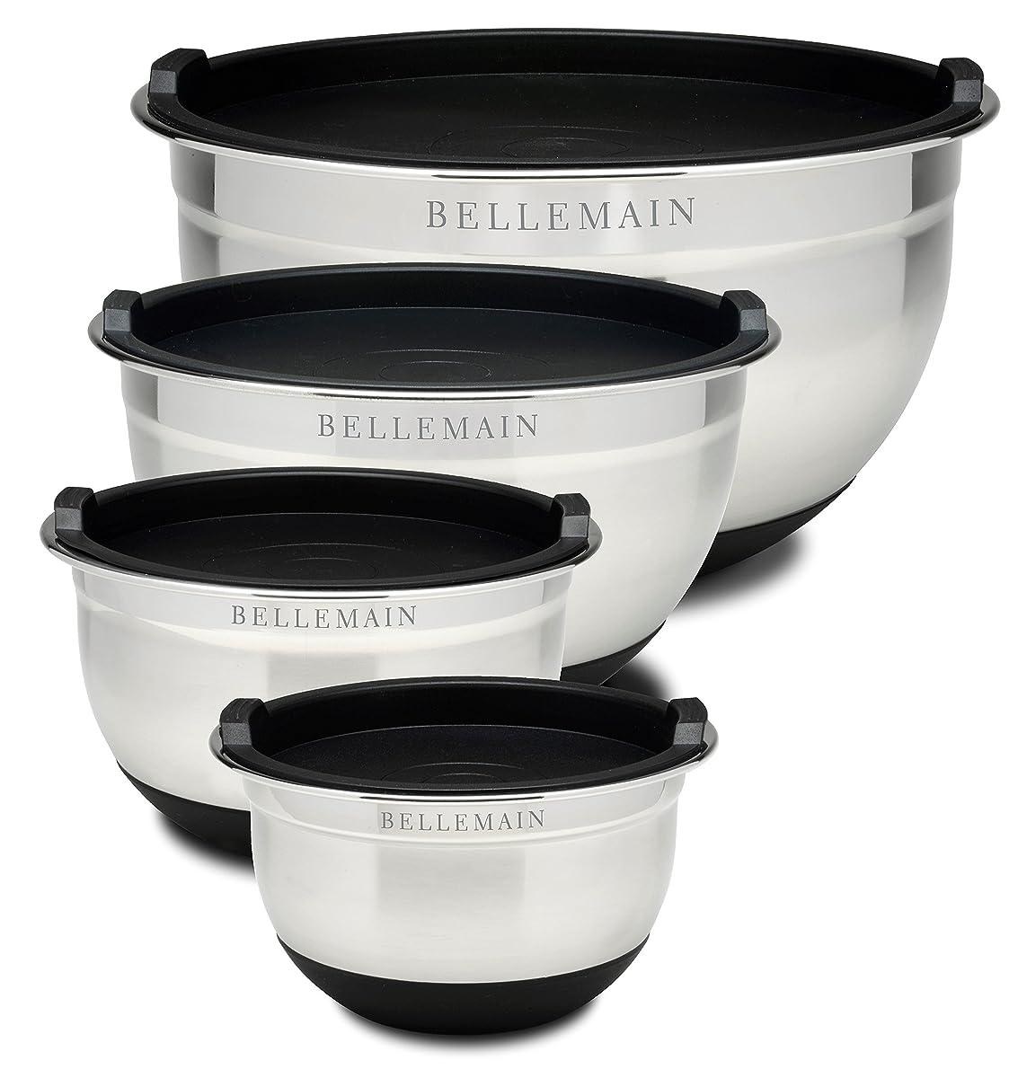 Top Rated Bellemain Stainless Steel Non-Slip Mixing Bowls with Lids, 4 Piece Set Includes 1 Qt., 1.5 Qt., 3 Qt. & 5 Qt.