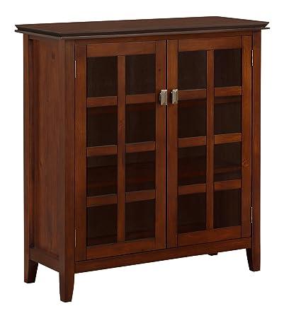 Simpli Home AXCHOL007 Artisan Collection Medium Storage Cabinet, Auburn Brown, 1-Pack