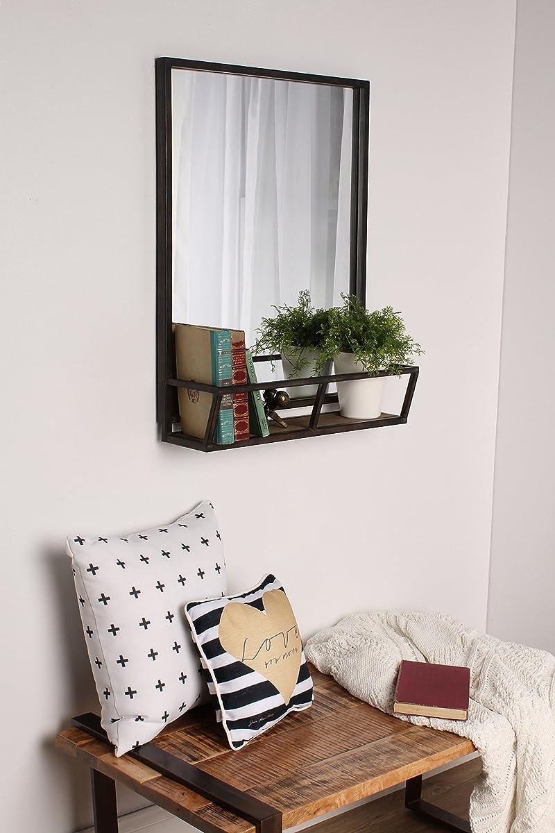 Kate and Laurel Jackson 22x29 Distressed Metal Mirror with Wood Shelf, Black