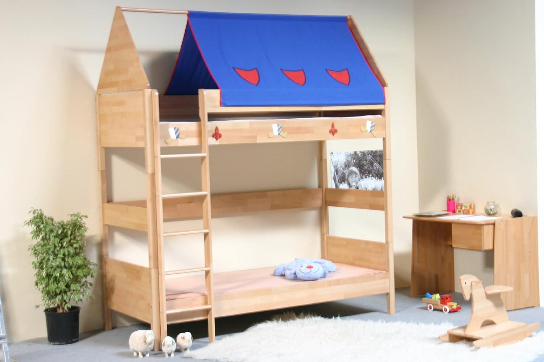 TAUBE Kinderbett Etagenbett Ritter 182 cm (Ausführung: 90x190cm, Buche-lackiert, Ausstattung: mit Leiter) kaufen