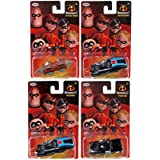 Cars Die-Cast Disney Pixar Animated Movie The Incredibles Part 2 | 4-Car Pack / Police Car / Underminer Tunneler / Boosted Car (Color: Red)