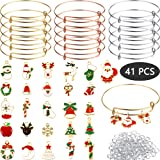 41 Pack DIY Christmas Gold Charm Pendant Assorted with Expandable Bangle Adjustable Wire Bracelets for DIY Craft Jewelry Making, Extra 200 Pack Open Ring (Color: 241 Pieces, Tamaño: Style B)