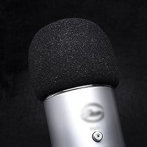 Mudder Mic Cover Foam Microphone Windscreen for Blue Yeti, Yeti Pro Condenser Microphone (Color: black)