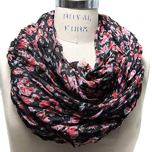 Scarfand Romantic Floral Print Infinity Scarves