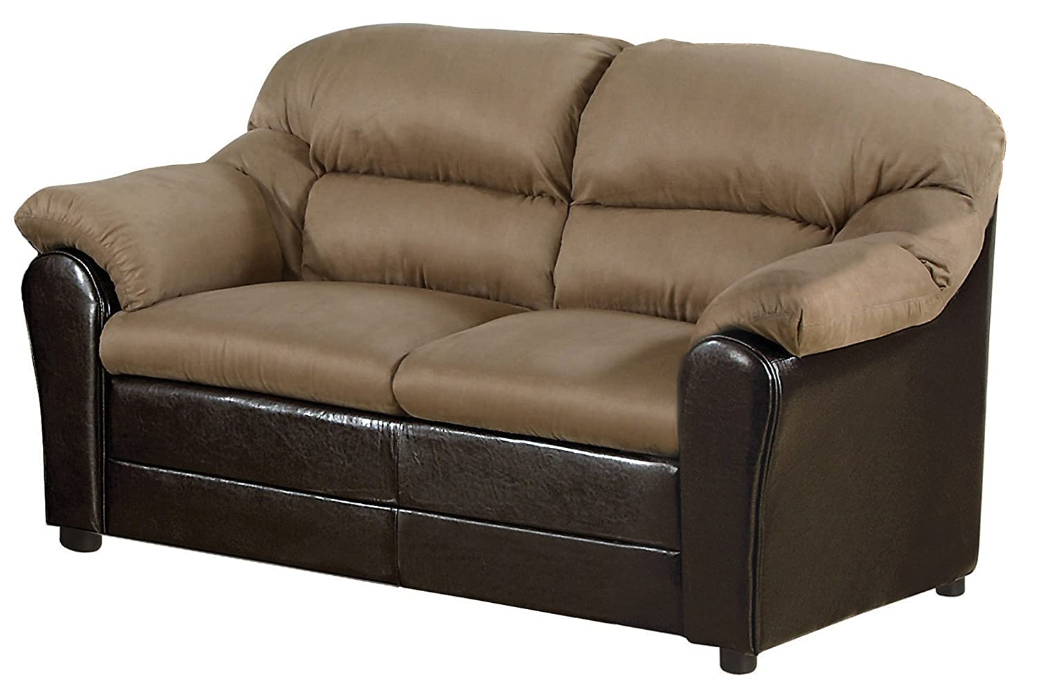Acme 15141A Connell Loveseat - Saddle Microfiber and Espresso Polyurethane Finish