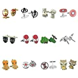Outlander Gear Marvel Comics 12 Pairs Infinity War Superhero 2018 Movie Logos - Wedding Groom Groomsmen Mens Boys Cufflinks (Color: Multicolored)
