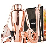 VonShef Parisian Cocktail Shaker Barware Set in Gift Box with Recipe Guide, Cocktail Strainers, Twisted Bar Spoon, Jigger, Muddler and Pourers, Copper, 9 Piece Set, 17oz (Color: Copper)