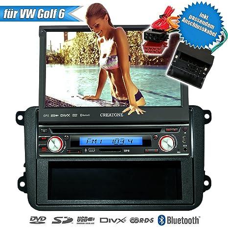 CREATONE v-7260DG 1DIN autoradio pour vW gOLF 6 (2008-2013) avec écran tactile, gPS, bluetooth gPS, lecteur dVD/uSB/sD avec fonction