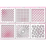 Cookie and Craft stencil set Basic N2, 6 pcs: scales, droops, goose-foot, flowers, shine, caramel (Color: Transparent)