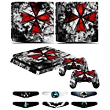 PS4 Slim Skins - Decals for PS4 Controller Playstation 4 Slim - Stickers Cover for PS4 Slim Controller Sony Playstation Four Slim Accessories with Dualshock 4 Two Controllers Skin - Resident Evil (Color: Resident Evil)