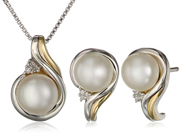 S-G-Sterling-Silver-14k-Yellow-Gold-Freshwater-Cultured-Pearl-and-Diamond-Accent-Pendant-Necklace-18-and-Earrings-Set