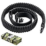 Soma Gun Sling Rifle Sling Paracord 550lb 2 Point Adjustable Strap for Tactical Rifle or Shotgun 4 Colors (Color: Black)