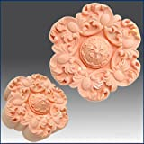 Flower & Curled Leaf Rosette - Detail of High Relief Sculpture - Silicone Soap/polymer/clay/cold Porcelain Mold (Color: light grey, Tamaño: 3