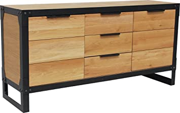 sideboard 160 cm loft industrial design eiche natur holz kommode highboard anrichte schrank chic. Black Bedroom Furniture Sets. Home Design Ideas