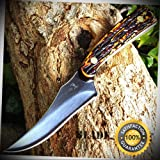 7'' STAG SURVIVAL Skinning KNIFE Hunting Skinner Camping Fixed Blade - Outdoor For Camping Hunting