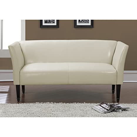 Metro Shop Marcella Creme Bonded Leather Bronze-capped Legs Loveseat--
