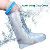 Waterproof Leg Cast Cover For Shower- Adult Size. Casts and Bandages Protector Bag for Injury Recovery, Post Surgeries Rehabilitation, Broken Bones, Burns, Wounds, Tattoos, 100% Watertight Protection (Color: Clear, Tamaño: Adult - Full Leg (Long))