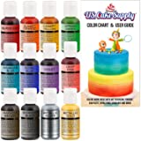 12 Color-US Cake Supply by Chefmaster Airbrush Cake Color Set - The 12 Most Popular Colors in 0.7 fl. oz. (20ml) Bottles