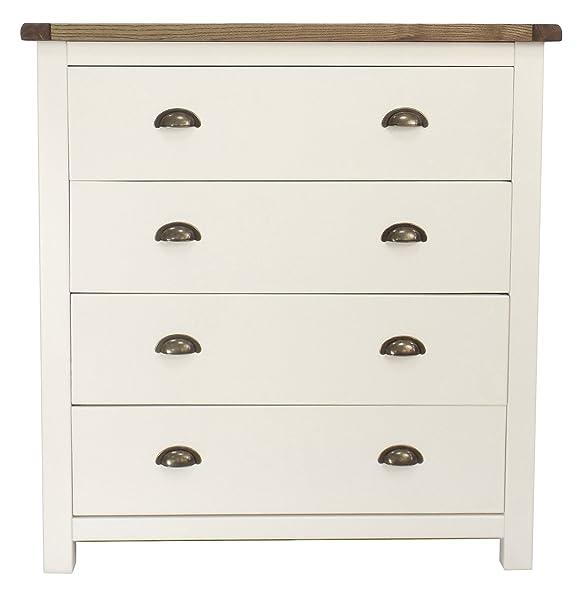 Armadietto a  cassetti con maniglia in ottone, legno, bianco