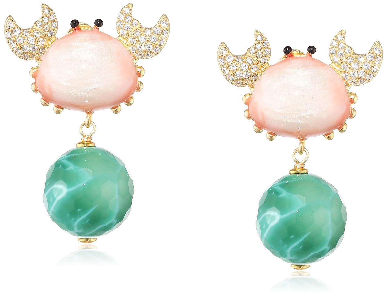 Misis Damen-Ohrringe Positano 925, Silber, Vergoldet, Zirkonia Rundschliff weiß Achat 3.5 cm – OR08996 schenken