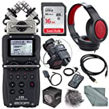 Zoom H5 Handy Recorder with Interchangeable Microphone System Including Samson Stereo Headphones and Deluxe Accessory Bundle (Tamaño: Premium)