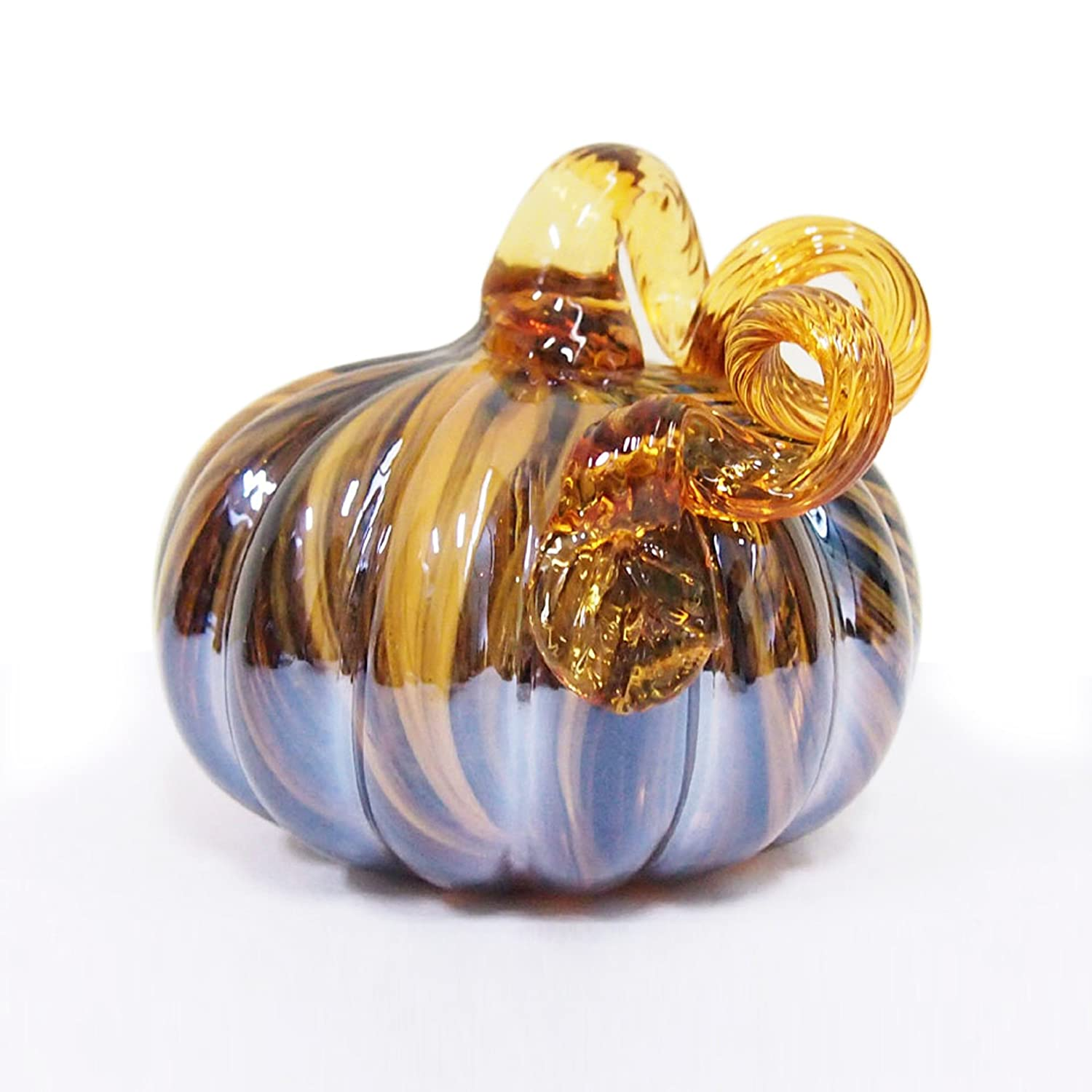 Glitzhome Two Tone Stripe Glass Pumpkin