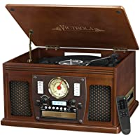 Victrola VTA-600B Nostalgic Aviator Wood 8-in-1 Bluetooth Turntable Entertainment Center (Espresso/Black)
