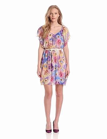 Gabby Skye Women's Lined Chiffon Print Dress, Purple/Pink/Yellow, 4 at