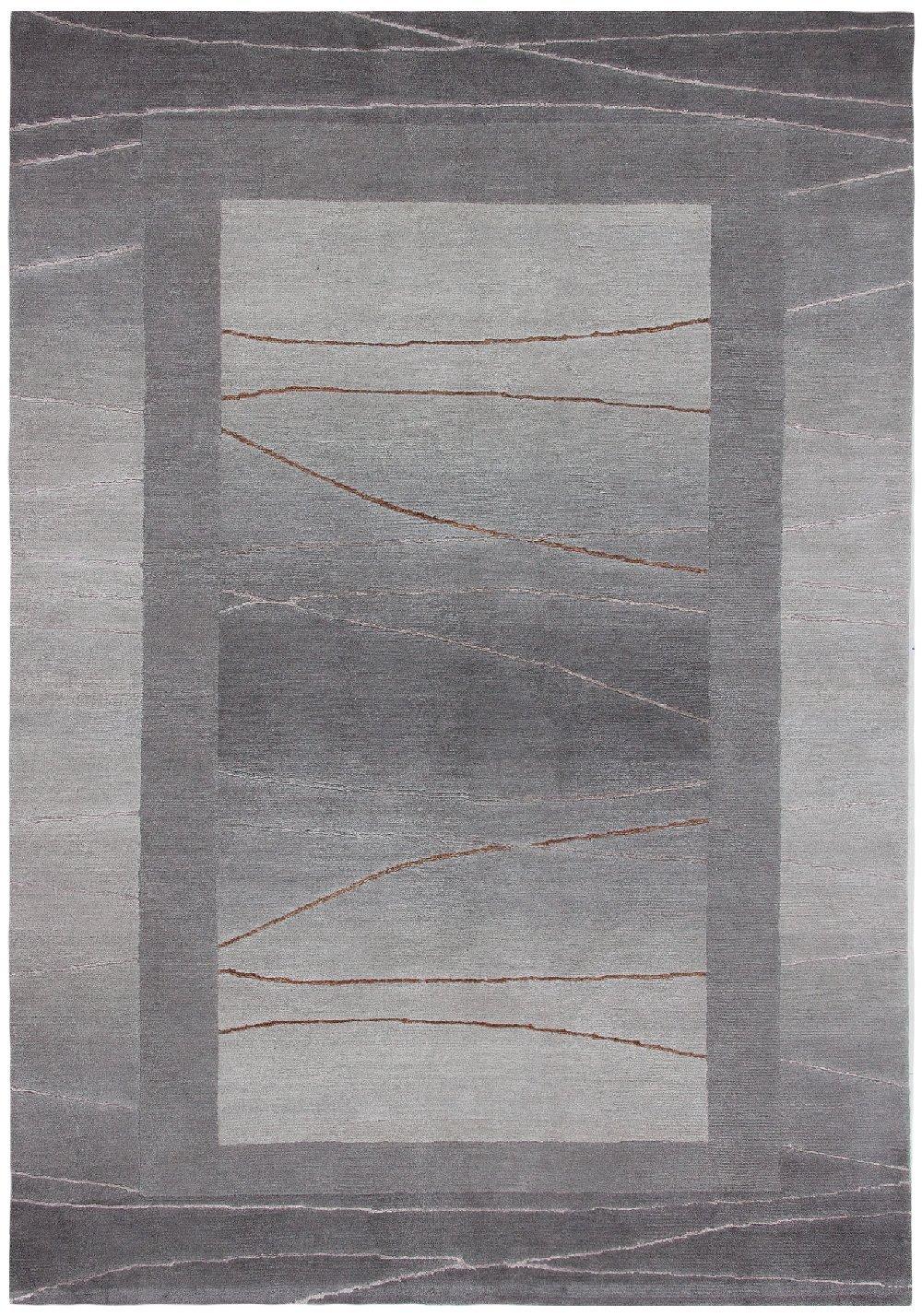 """Sona-Lux Nepal Teppich handgeknüpft silber """"Größe auswählen"""" 250 x 300 cm"""