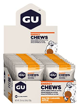 GU Energy Chews, Salted-Caramel-Apple (salziges Karamel mit Apfel), Box mit 24 x 30 g