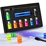 Glass Dipped Pen Ink Set with Fluorescent & Invisible Ink for Writing, Signing, Drawing, Calligraphy, Decoration, Gift (Color: multicolored#6)