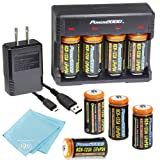 8 Pack of 1200mAh CR-123A LiFePO4 Lithium Rechargeable Batteries and Charger Kit with USB Adapter - Compatible with many Security System cameras, LED Flashlights, and Lasers (Tamaño: 8 Batteries + Charger)