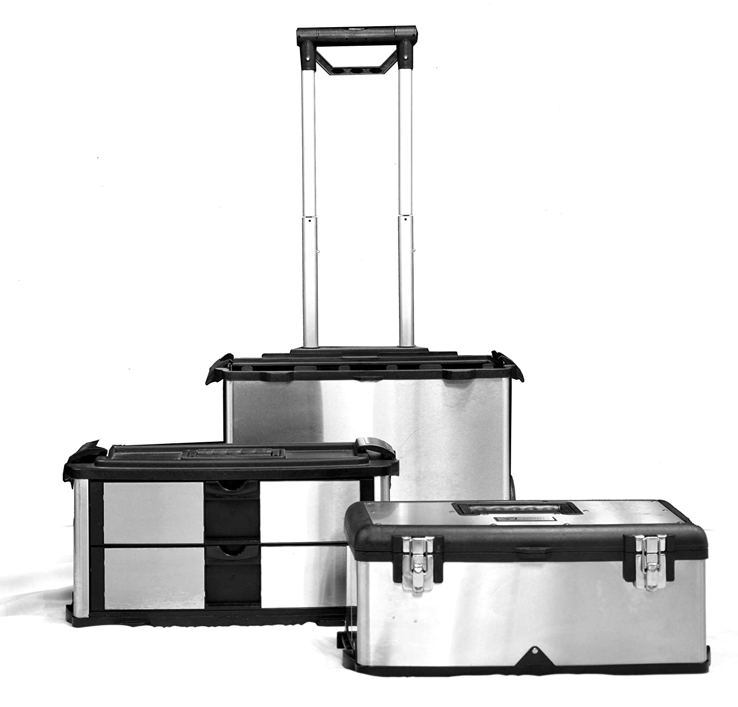 stainless steel suitcase toolbox 3 separate compartments. Black Bedroom Furniture Sets. Home Design Ideas