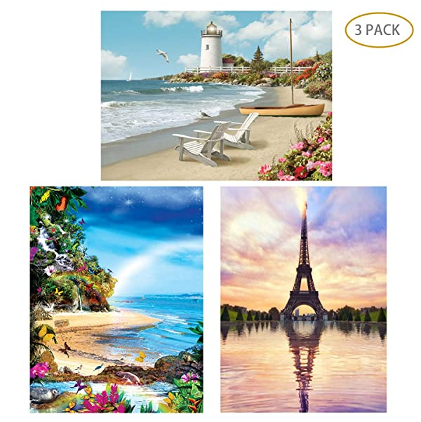 5D Full Drill Diamond Painting Kit,Hartop DIY Diamond Rhinestone Painting Kits for Adults and Beginner,Embroidery Arts Craft Home Office Decor 12 X 16 Inch (3 Pack of Lighthouse,Beach,Eiffel Tower) (Color: 3 Pack of Lighthouse,Beach,Eiffel Tower)