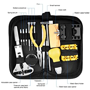 Longruner Watch Repair Kit Watchmaker's Tools Battery Replacement Watch Case Back Opener Link Band Remover Tool Kit [Updated] ET017 (Color: Silver, Tamaño: watch repair kit 1)