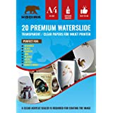 Kodiak Supplies A4 Waterslide Decal Paper INKJET Clear - 20 Sheets - DIY A4 water slide Transfer CLEAR Printable Water Slide Decals A4 20 Sheets (Transparent) (Color: Transparent)