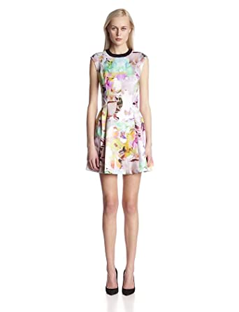 Ted Baker Women's Jeneyy Floral Print Fit and Flare Dress, Lemon, 2