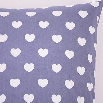 kissenbezug 40x40 cm herzen gross auf grau baumwolle rv us81. Black Bedroom Furniture Sets. Home Design Ideas