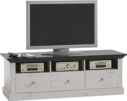 Steens 31771013 TV Monaco Tisch 49 x 145 x 55.5 cm in Kiefer massive, weiß und dunkelbraun