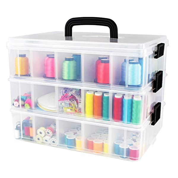 Bins Things Stackable Storage Containers With 30 Adjustable Compartments 13w X 9d 9 5h Inch