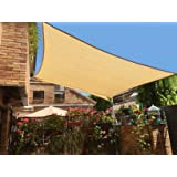 SUNNY GUARD 12' x 16' Sand Rectangle Sun Shade Sail UV Block for Outdoor Patio Garden (Color: sand, Tamaño: 12'x16')