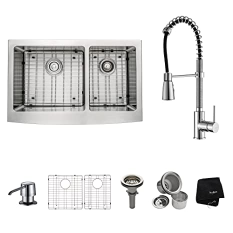 Kraus KHF203-33-KPF1612-KSD30CH 33 inch Farmhouse Double Bowl Stainless Steel Kitchen Sink with Chrome Kitchen Faucet and Soap Dispenser