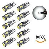 LEKE Bright 5630 Chipset LED Bulb 194 168 W5W 2825 T10 Wedge 6-SMD LED Xenon White Bulb 6000k for Car Interior Light Map Light Trunk Light License Plate Bulb (10 Pack) (Color: White, Tamaño: T10-194 168)