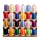 Simthread 24 Spools Trilobal Polyester Embroidery Machine Thread for Brother Janome Pfaff Babylock Singer Husqvaran Bernina etc Machines 1100 Yds Each #1 (Color: 1)