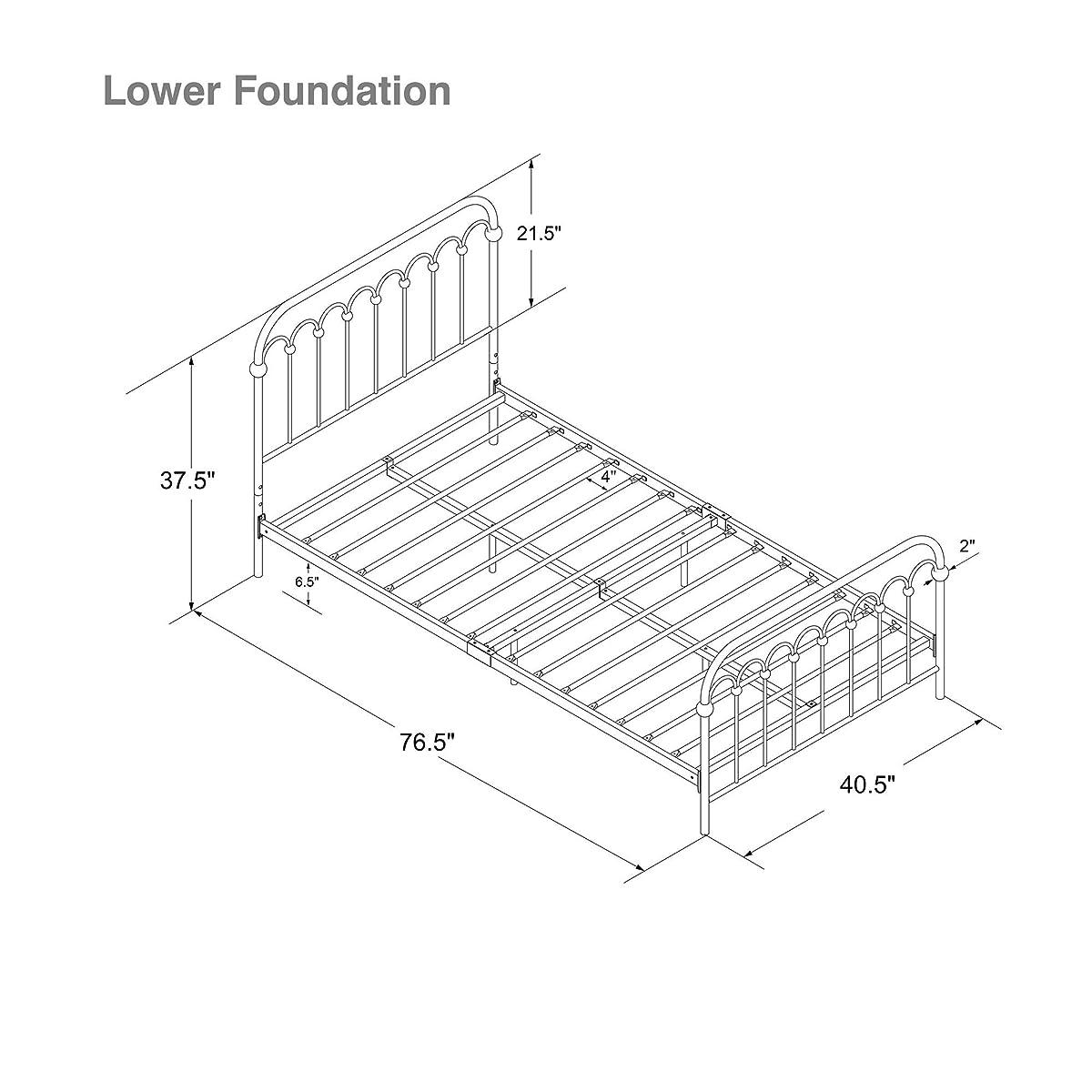 "Novogratz Bright Pop Metal Bed, Adjustable Height for Underbed Storage (6.5"" or 11""), Metal Slats Included, Twin, Black"