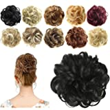 FESHFEN Synthetic Hair Bun Extensions Messy Hair Scrunchies Hair Pieces for Women Hair Donut Updo Ponytail (Color: A01- 1# Jet Black, Tamaño: Normal)